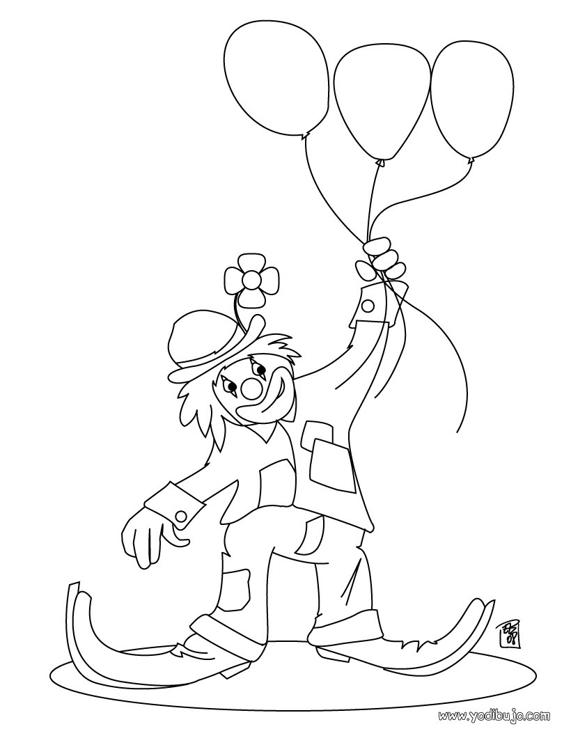 Dibujo payaso con 3 globos - Dibujo para colorear PAYASO