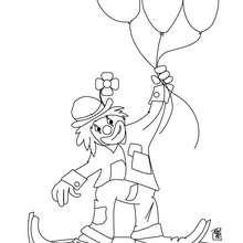 Dibujo para colorear : payaso con 3 globos