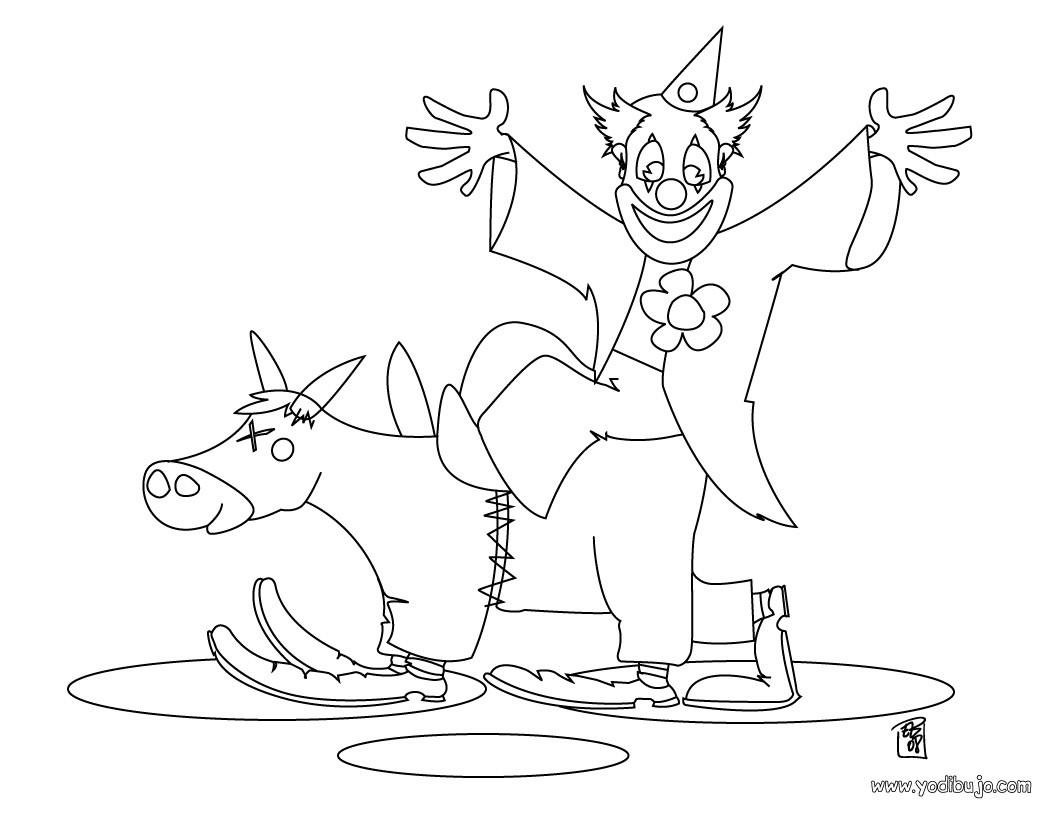 Dibujos para colorear payaso con caballo - es.hellokids.com