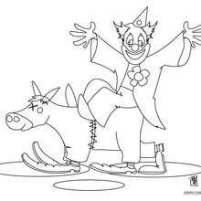 Dibujo payaso con caballo - Dibujos para Colorear y Pintar - Dibujos para colorear FIESTAS - Dibujos para colorear CARNAVAL - Dibujo para colorear PAYASO