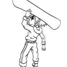 Dibujo surf de invierno - Dibujos para Colorear y Pintar - Dibujos para colorear DEPORTES - Dibujos de DEPORTES DE INVIERNO para colorear - Dibujos para colorear SNOWBOARD