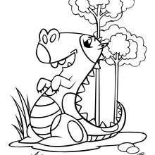Dibujo chistoso de estegosaurio - Dibujos para Colorear y Pintar - Dibujos para colorear ANIMALES - Dibujos para colorear DINOSAURIOS - Colorear dinosaurio ESTEGOSAURIO