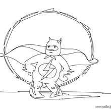 Dibujo para colorear : Superheroe despegando