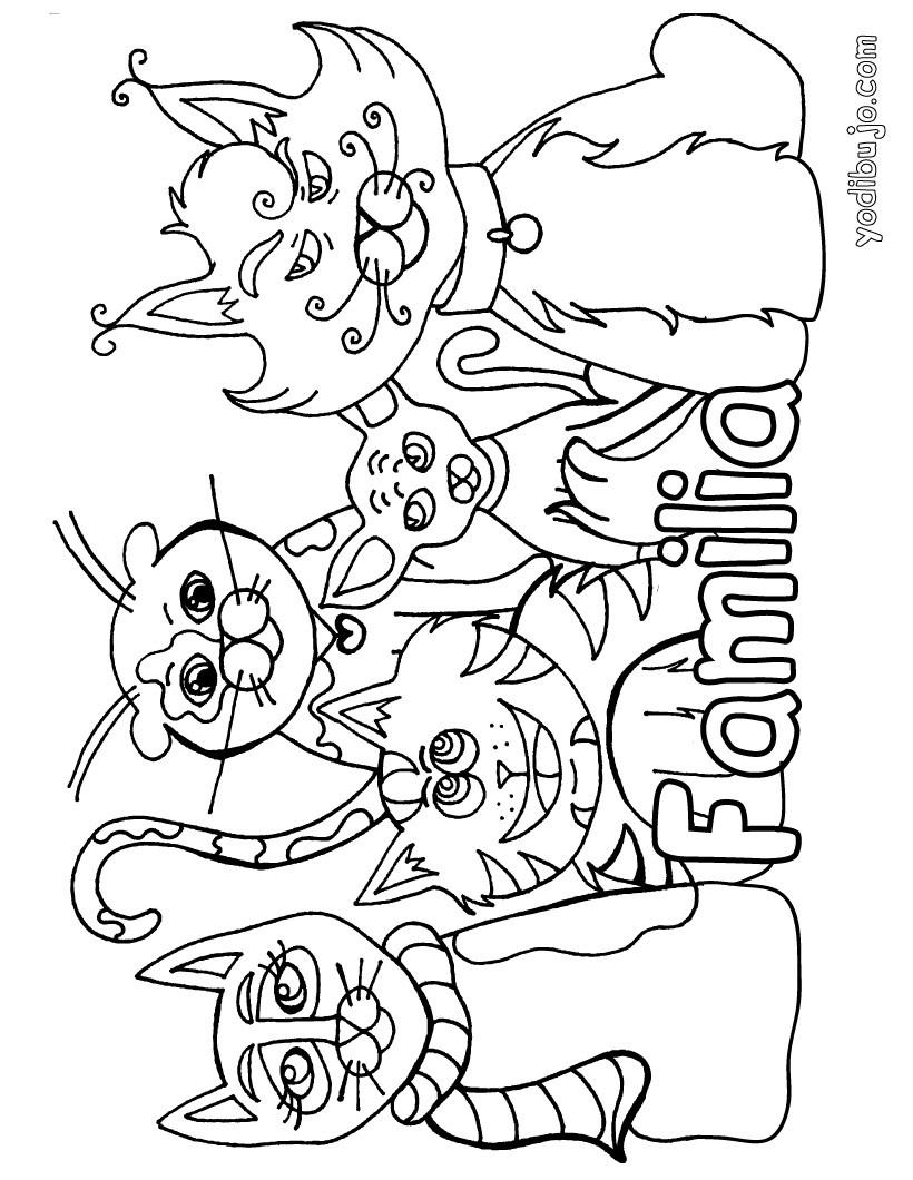 Dibujos para colorear la familia gatos - es.hellokids.com