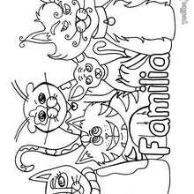 Dibujo para colorear : La familia gatos