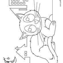 Dibujo de noche todos los gatos son pardos - Dibujos para Colorear y Pintar - Dibujos para colorear ANIMALES - Dibujos GATOS para colorear - Dibujos para colorear GATO CALLEJERO