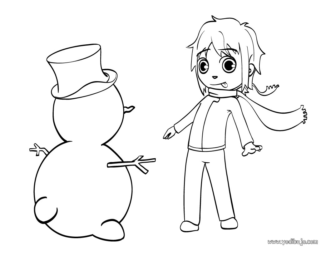 Dibujos para colorear muñeco de nieve - es.hellokids.com