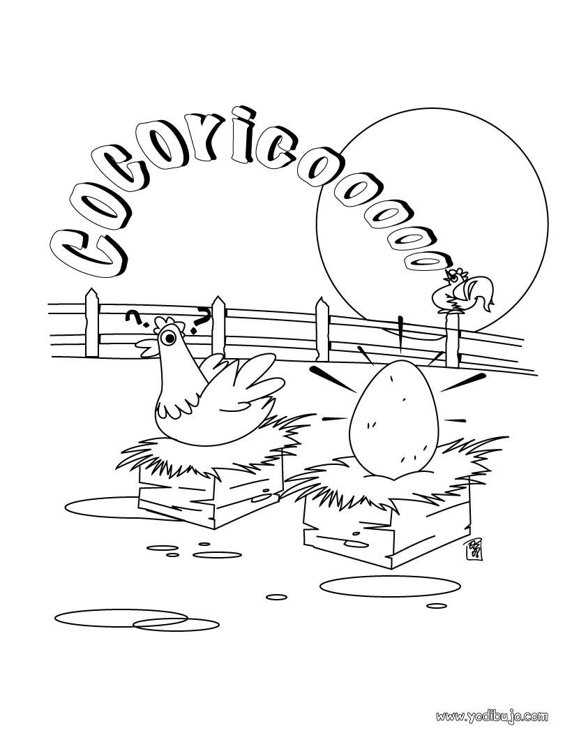Dibujos para colorear nido de gallina - es.hellokids.com