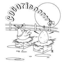 Dibujo de nido de gallina - Dibujos para Colorear y Pintar - Dibujos para colorear ANIMALES - Dibujos ANIMALES DE GRANJA para colorear - Colorear GALLINAS