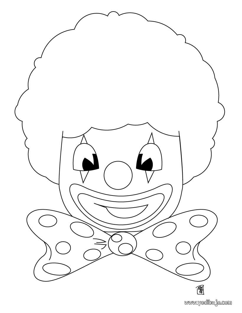 Dibujo careta de payaso - Dibujo para colorear PAYASO