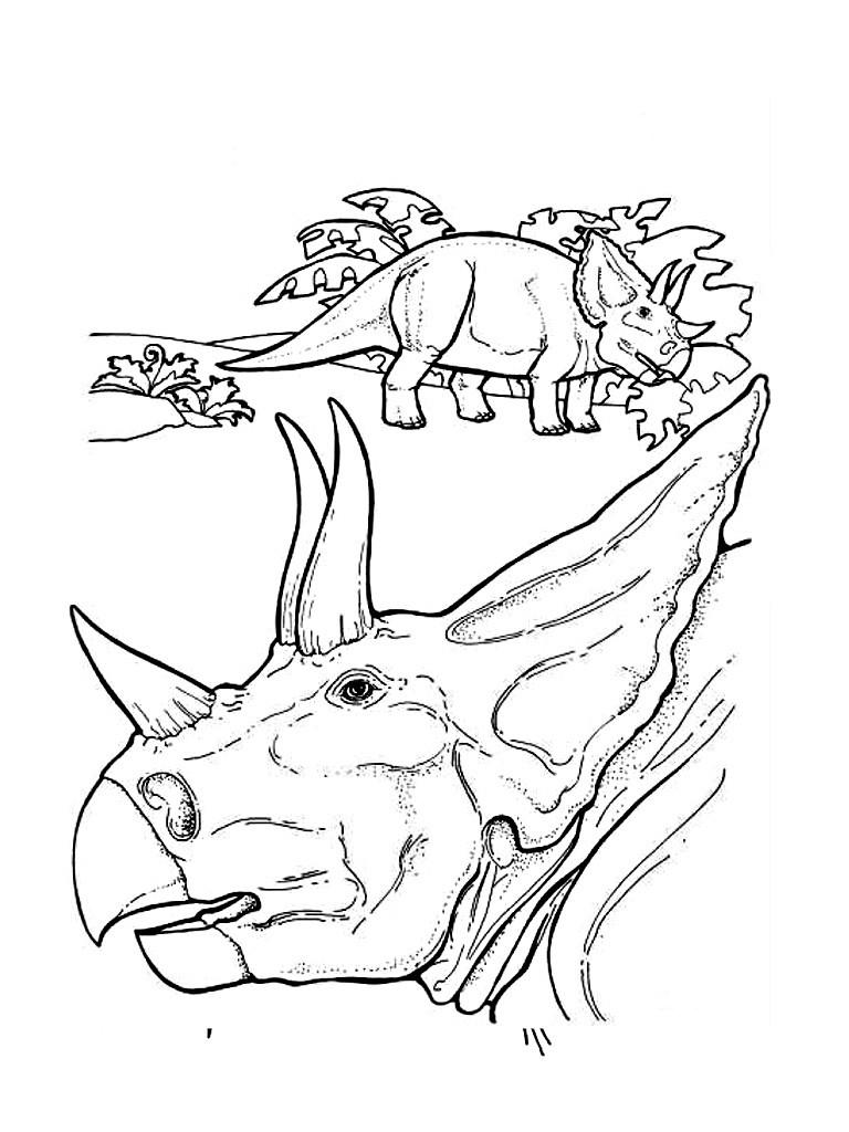 Dibujos para colorear dinosaurio con cuernos - es.hellokids.com