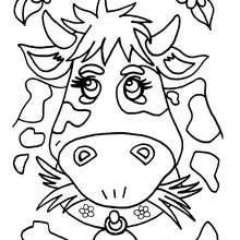 Dibujo vaca con flores - Dibujos para Colorear y Pintar - Dibujos para colorear ANIMALES - Dibujos ANIMALES DE GRANJA para colorear - Colorear VACAS