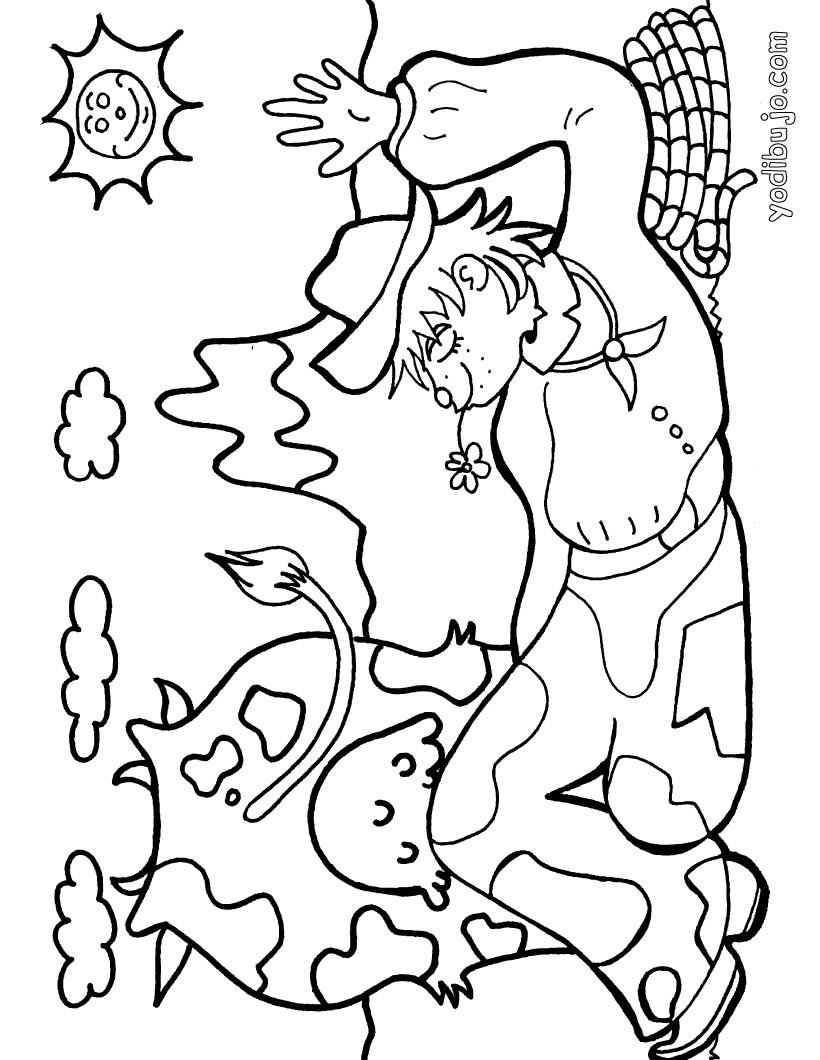 Dibujo para colorear : un campesino con su vaca