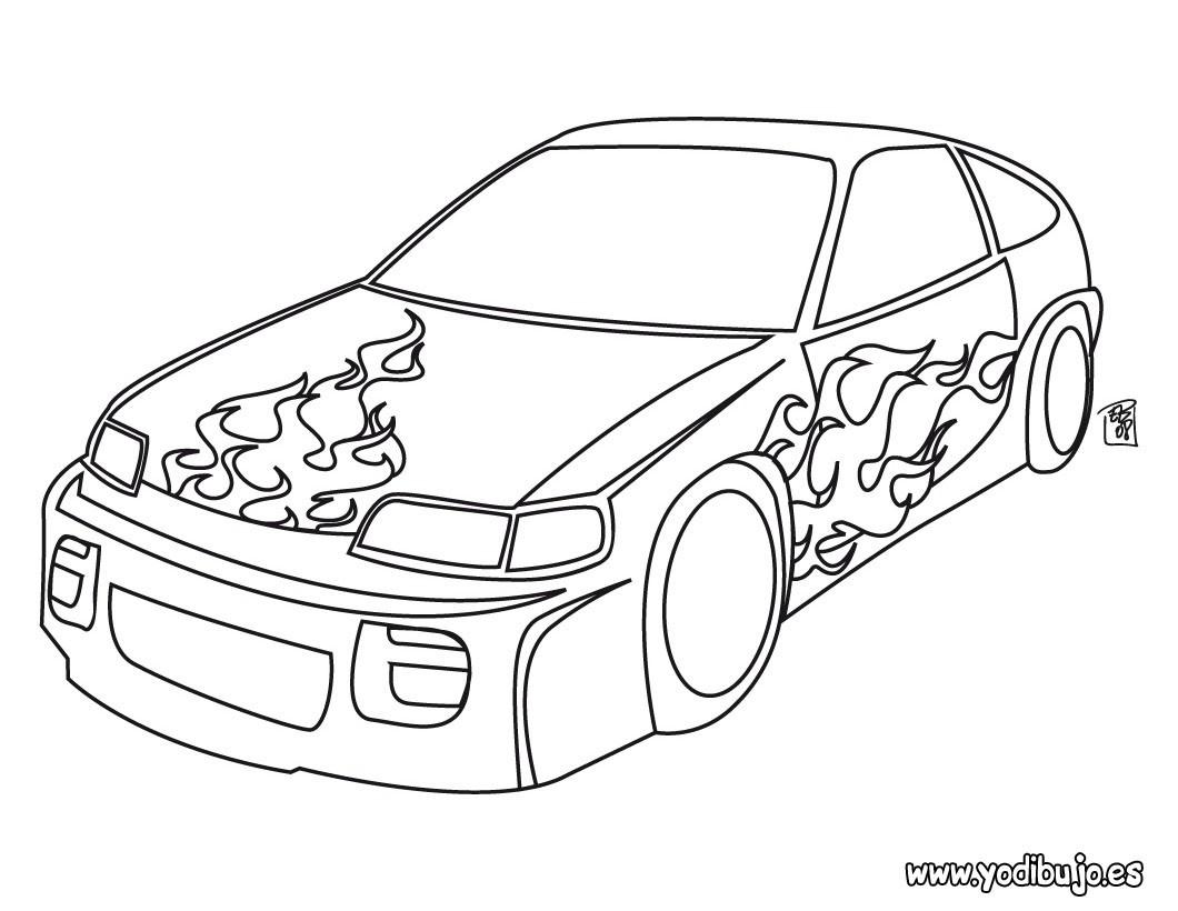 Dibujo para colorear : coche con llamas