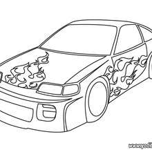 Dibujo coche con llamas  - Dibujos para Colorear y Pintar - Dibujos para colorear VEHICULOS - Dibujos para colorear COCHES - Dibujos para colorear COCHES TUNING