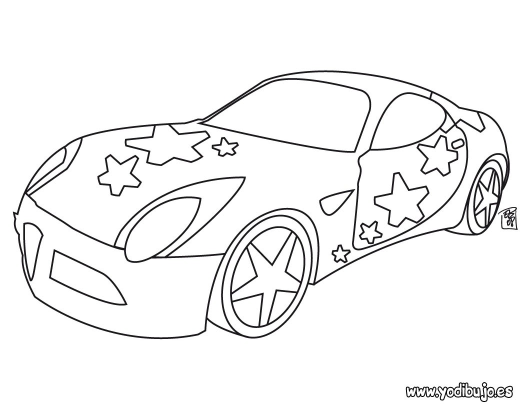 Dibujos para colorear coche con estrellas  eshellokidscom