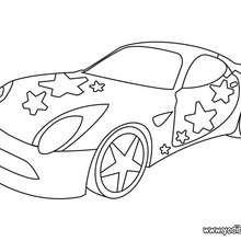 Dibujo coche con estrellas - Dibujos para Colorear y Pintar - Dibujos para colorear VEHICULOS - Dibujos para colorear COCHES - Dibujos para colorear COCHES TUNING