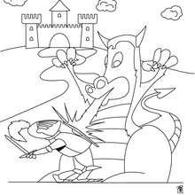 Dibujo dragonero y dragón para colorear - Dibujos para Colorear y Pintar - Dibujos para colorear de FANTASIA - Dibujos para colorear DRAGONES - Dibujos de DRAGON Y DRAGONEROS para colorear