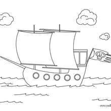 Dibujo barco de piratas - Dibujos para Colorear y Pintar - Dibujos para colorear PERSONAJES - Dibujos de PIRATAS para colorear