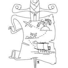 Dibujo mapa del tesoro - Dibujos para Colorear y Pintar - Dibujos para colorear PERSONAJES - Dibujos de PIRATAS para colorear