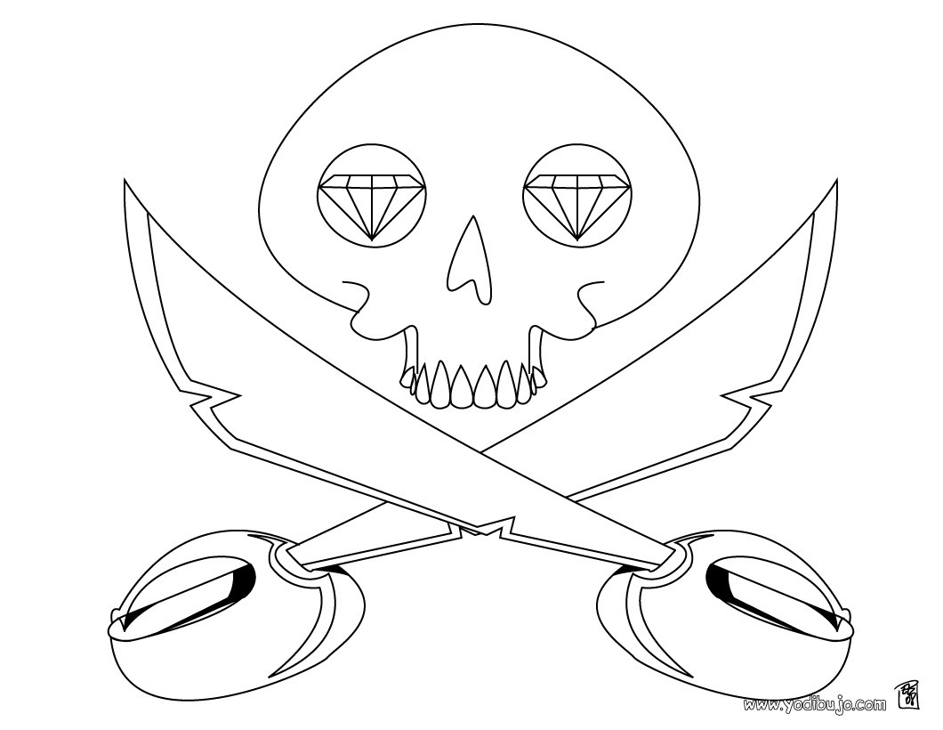 Dibujo espada y calavera - Dibujos de PIRATAS para colorear