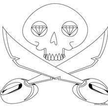 Dibujo para colorear : espada y calavera