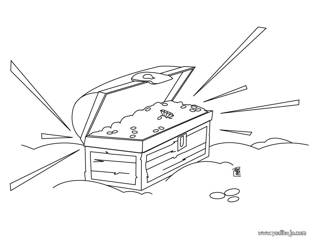Dibujo para colorear : cajón del tesoro