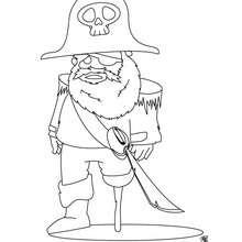 Dibujo capitán de los piratas - Dibujos para Colorear y Pintar - Dibujos para colorear PERSONAJES - Dibujos de PIRATAS para colorear