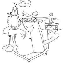 Dibujo para colorear caballero halconero - Dibujos para Colorear y Pintar - Dibujos para colorear de FANTASIA - Dibujos para colorear CABALLEROS - Dibujos para colorear CABALLEROS MEDIEVALES