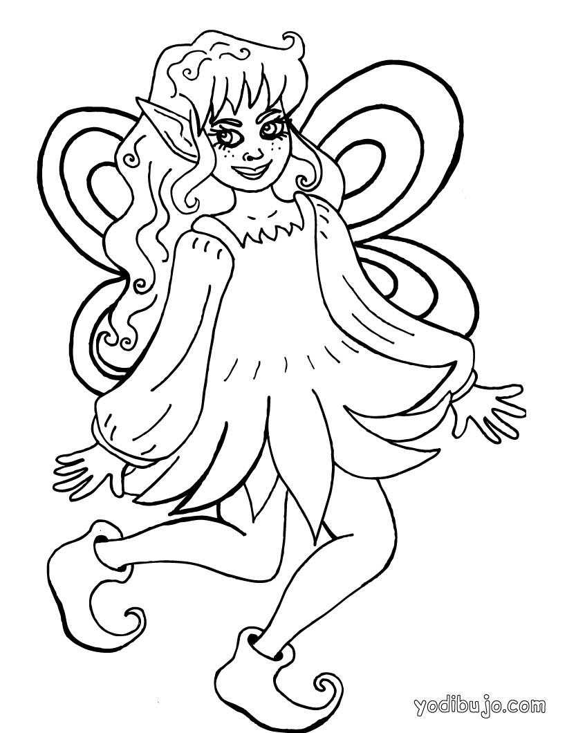 Dibujos para colorear una hada con su varita  eshellokidscom
