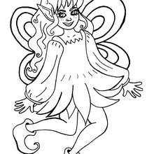 Dibujo hadita con hermoso vestido para colorear - Dibujos para Colorear y Pintar - Dibujos para colorear de FANTASIA - Dibujos para colorear HADAS - Dibujos de VESTIDO DE HADA para colorear