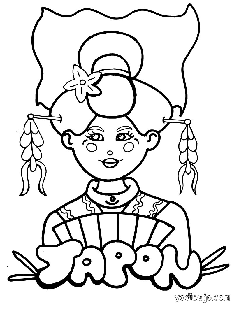 Dibujos para colorear japon for Printable japanese coloring pages