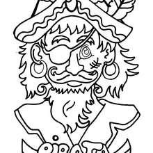 Dibujo retrato de pirata - Dibujos para Colorear y Pintar - Dibujos para colorear PERSONAJES - Dibujos de PIRATAS para colorear