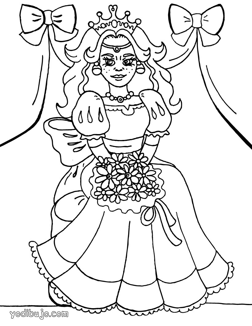 Dibujos para colorear posa de princesa - es.hellokids.com