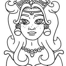 Dibujo retrato de princesa - Dibujos para Colorear y Pintar - Dibujos de PRINCESAS para colorear - Dibujos para colorear RETRATO DE PRINCESA