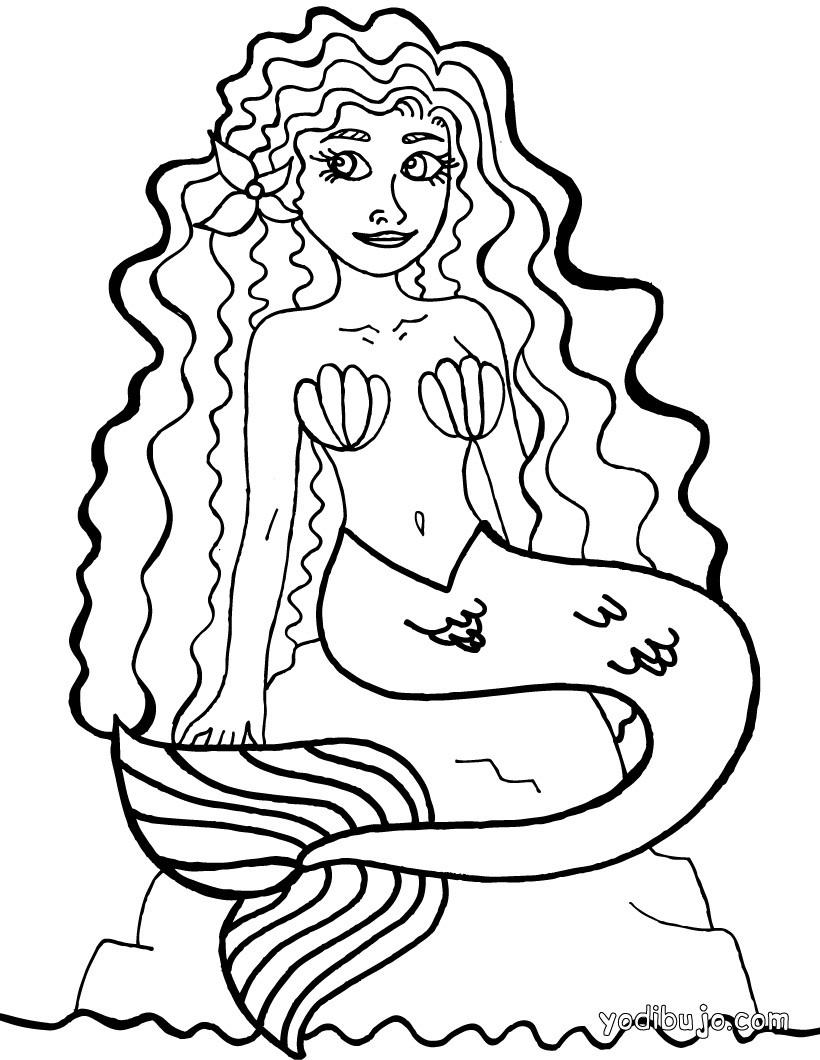 Dibujo para colorear : Sirena
