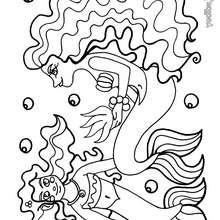 Dibujo 2 sirenas - Dibujos para Colorear y Pintar - Dibujos para colorear de FANTASIA - Dibujos SIRENAS para colorear - Dibujos de SIRENAS para imprimir