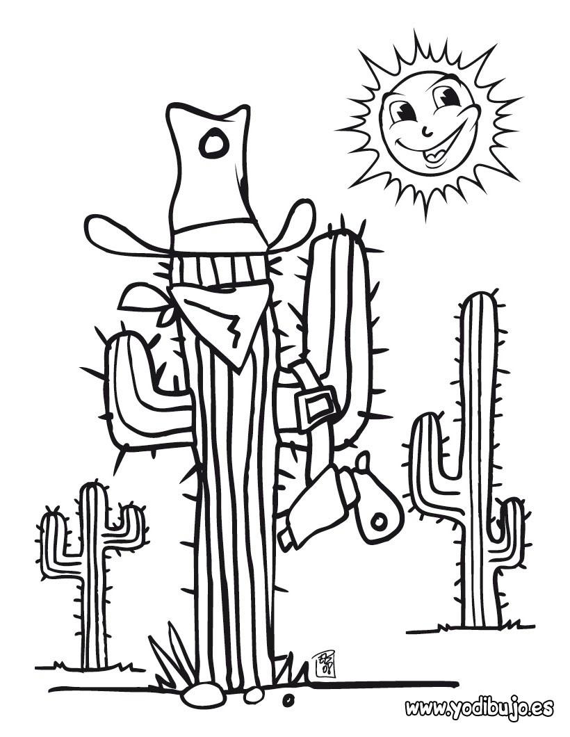 Dibujo para colorear : cactus en el desierto