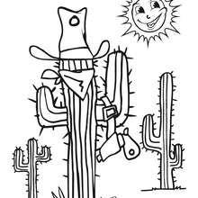 Dibujo cactus en el desierto - Dibujos para Colorear y Pintar - Dibujos para colorear PERSONAJES - Vaqueros e indios: dibujos para pintar