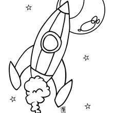 Dibujo cohete espacial - Dibujos para Colorear y Pintar - Dibujos infantiles para colorear - Dibujos ESPACIO y EXTRATERRESTRES para colorear