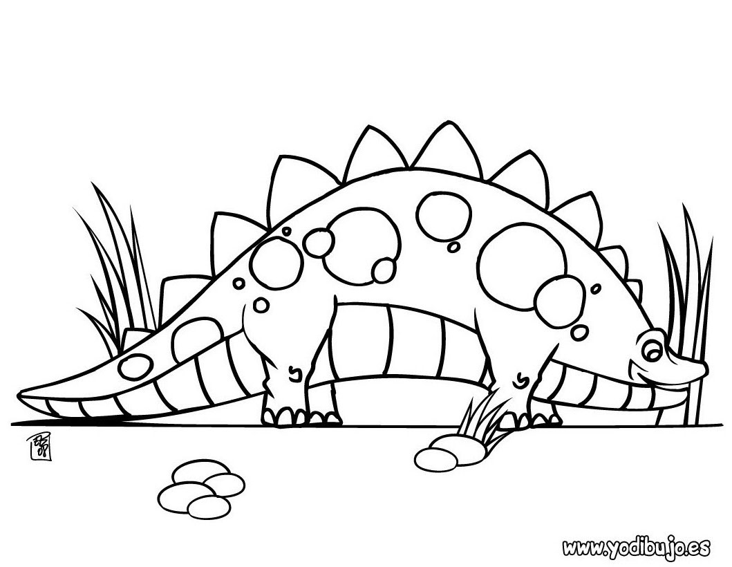 Dibujos para colorear estegosaurio con sus huevos - es.hellokids.com