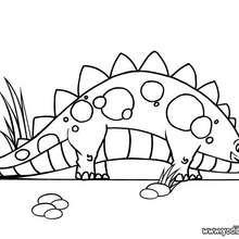 Dibujo para colorear : Estegosaurio con sus huevos