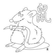 Signo de la Rata - Dibujos para Colorear y Pintar - Dibujos infantiles para colorear - Signos astrológicos chinos para pintar