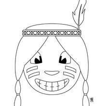 Dibujo retrato de indio - Dibujos para Colorear y Pintar - Dibujos para colorear PERSONAJES - Vaqueros e indios: dibujos para pintar
