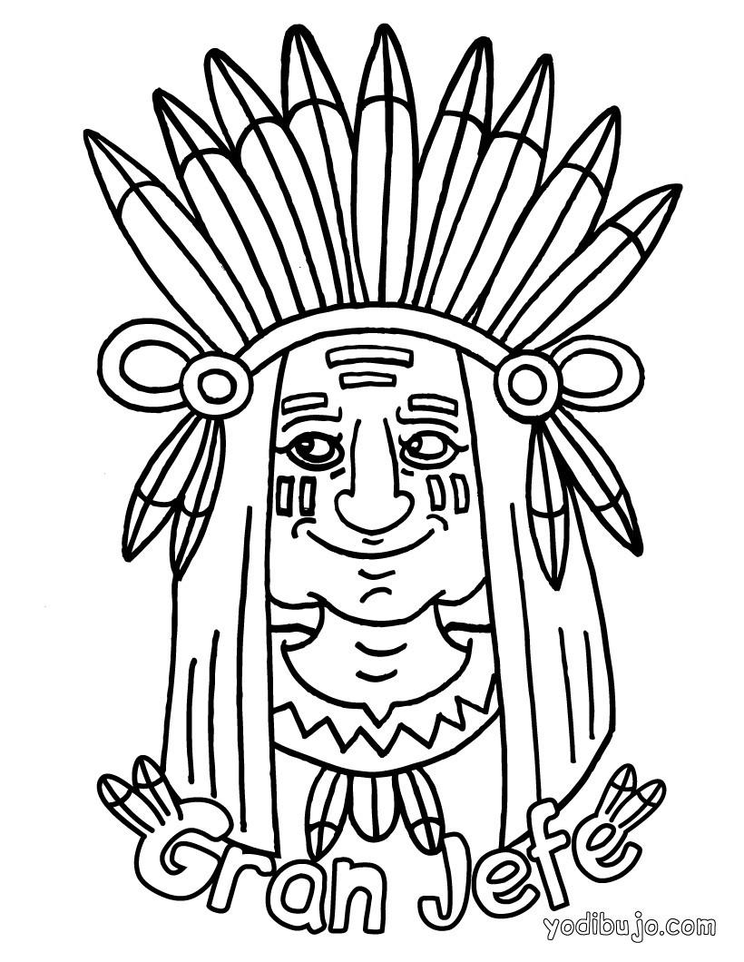 Dibujo para colorear : gran jefe Piel Roja