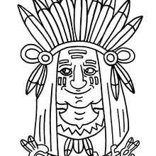 Dibujo gran jefe Piel Roja - Dibujos para Colorear y Pintar - Dibujos para colorear PERSONAJES - Vaqueros e indios: dibujos para pintar
