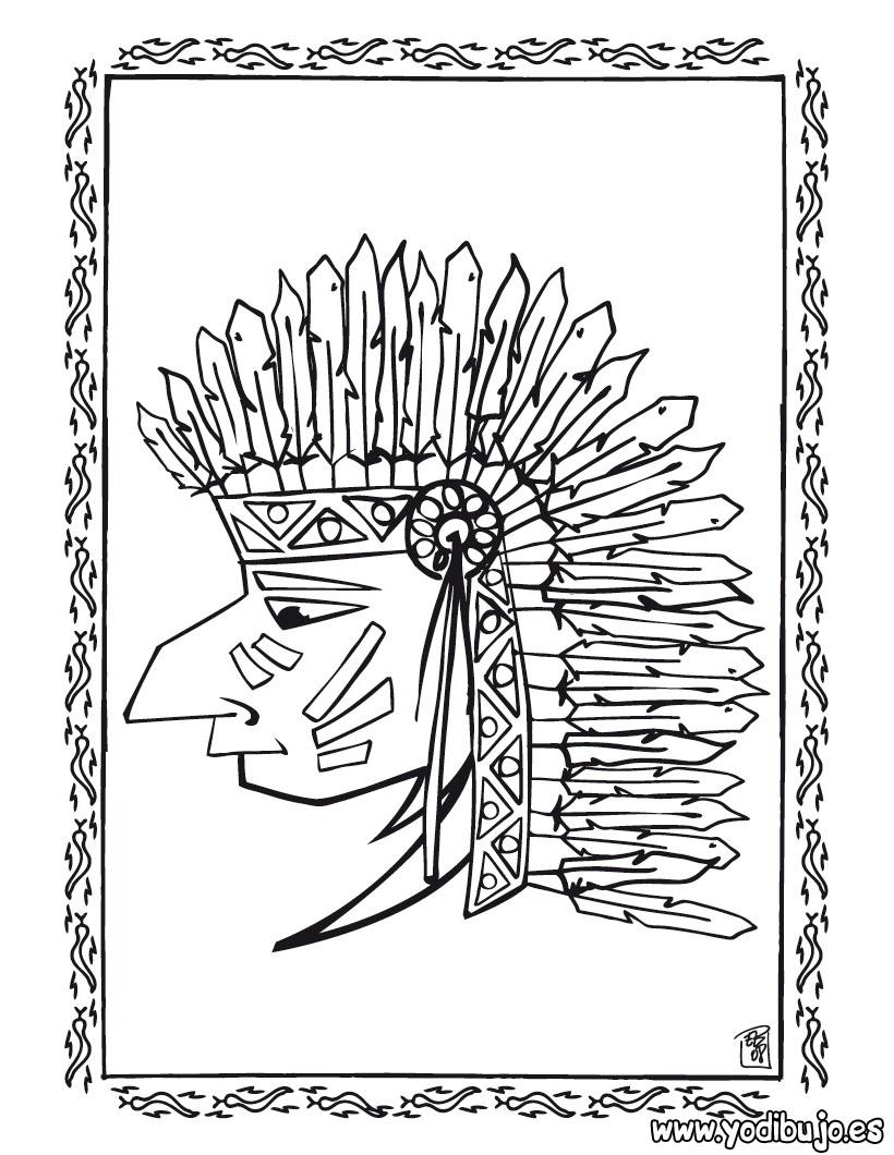 Dibujos para colorear gran jefe piel roja - es.hellokids.com