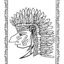 Dibujo retrato de indio piel roja - Dibujos para Colorear y Pintar - Dibujos para colorear PERSONAJES - Vaqueros e indios: dibujos para pintar