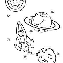 Dibujo conjunto de planetas - Dibujos para Colorear y Pintar - Dibujos infantiles para colorear - Dibujos ESPACIO y EXTRATERRESTRES para colorear