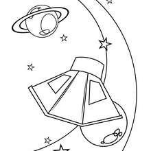 Dibujo satelite y planeta - Dibujos para Colorear y Pintar - Dibujos infantiles para colorear - Dibujos ESPACIO y EXTRATERRESTRES para colorear